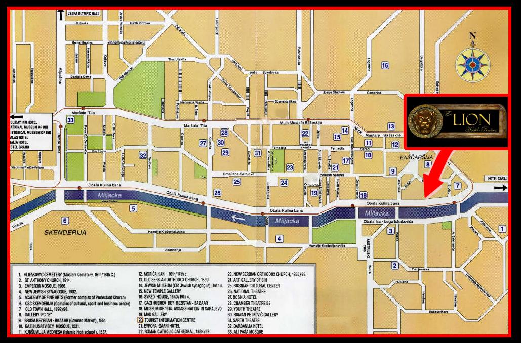 Pansion Lion - Sarajevo - English on washington street map, colombo street map, london street map, auckland street map, florence street map, amman street map, cairo street map, istanbul street map, kampala street map, calgary street map, singapore street map, tokyo street map, wellington street map, beijing street map, kathmandu street map, moscow street map, montreal street map, zagreb street map, caracas street map, lyon street map,